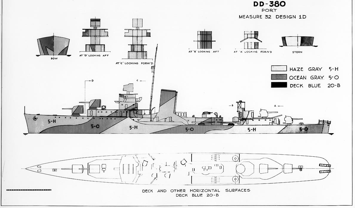 Camouflage Measure 32, Design 1D; this drawing prepared circa 1944 by the Bureau of Ships (BuShips) for a camouflage scheme intended for destroyers of the Gridley-class. Ships known to have worn this pattern included Bagley, Helm, Mugford and Ralph Talbot. Some of these ships may have used different paints than those specified on this drawing. This plan shows the ship's port side, bow, stern, superstructure ends, and exposed decks. (U.S. Navy Photograph 80-G-150620, National Archives and Records Administration, Still Pictures Division, College Park, Md.)