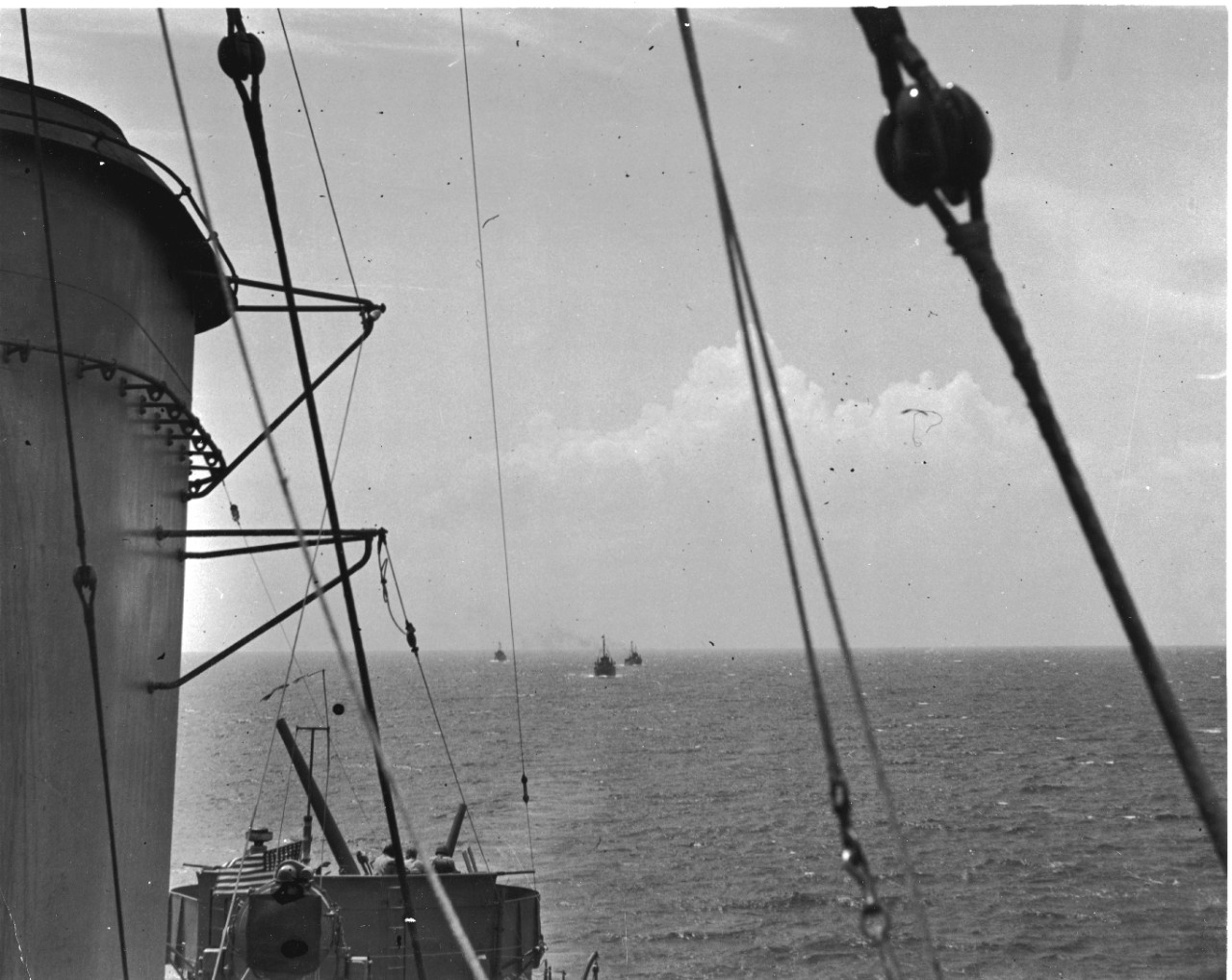 As seen from Helm's bridge, beyond her colors and commissioning pennant, can be seen YP-239, YP-284, and YP-346, bound for the Solomons. Of that little trio of former tuna clippers, two – YP-346 and YP-284 – would be sunk by Japanese destroyers, the former of 9 September 1942 and the latter on 25 October 1942, in the bitter fighting for Guadalcanal. (U.S. Navy Photograph 80-G-32146, National Archives and Records Administration, Still Pictures Division, College Park, Md.)