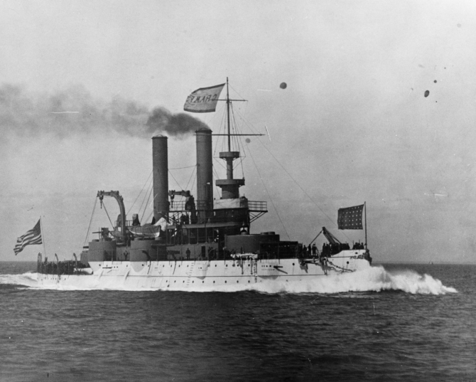 Iowa (Battleship No. 4), flying the house flag of the William Cramp & Sons Ship & Engine Building Co., runs her builder's trials in 1897. (Naval History & Heritage Command Photograph NH 73976)