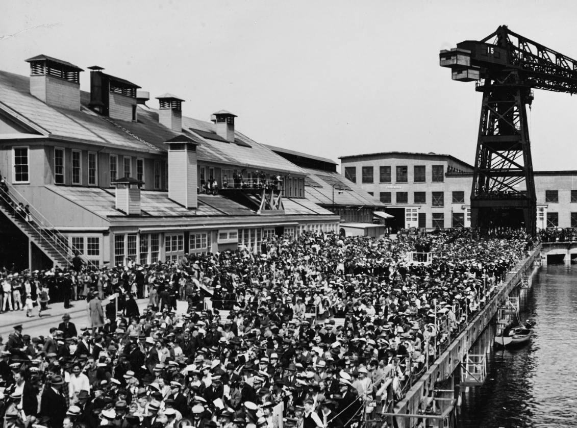 A panoramic view shows the large crowd that attends the christening of Patterson and Jarvis at Puget Sound, 6 May 1937. (Naval History and Heritage Command Photograph NH 42816)