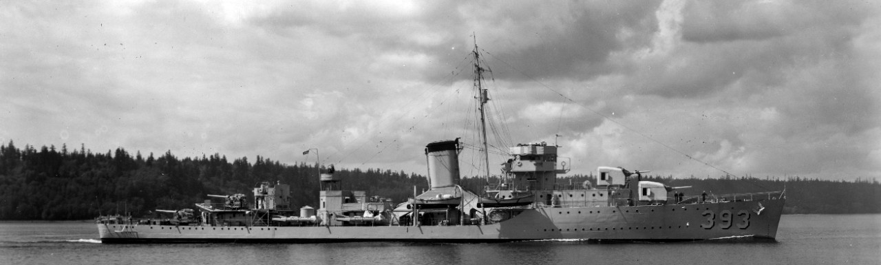 Jarvis slices through Puget Sound, 2 May 1938. Note that her main gun director has been removed from its normal position atop the pilothouse. (U.S. Navy Photograph 19-N-18849, National Archives and Records Administration, Still Pictures Branch, College Park, Md.)