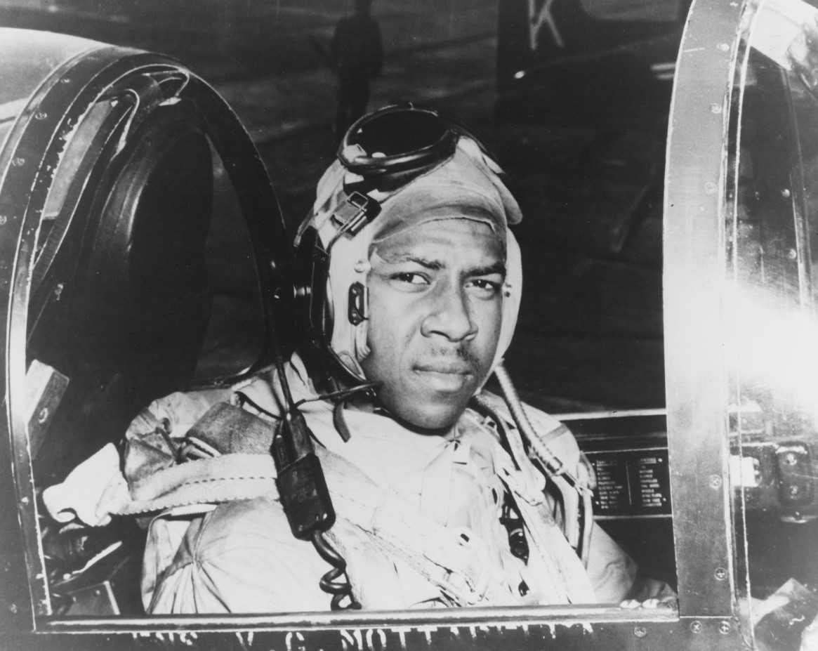 Jesse L. Brown in the cockpit of a Vought F4U-4 Corsair, circa 1950. (U.S. Navy Photograph, Naval History and Heritage Command Photograph USN 1146845)