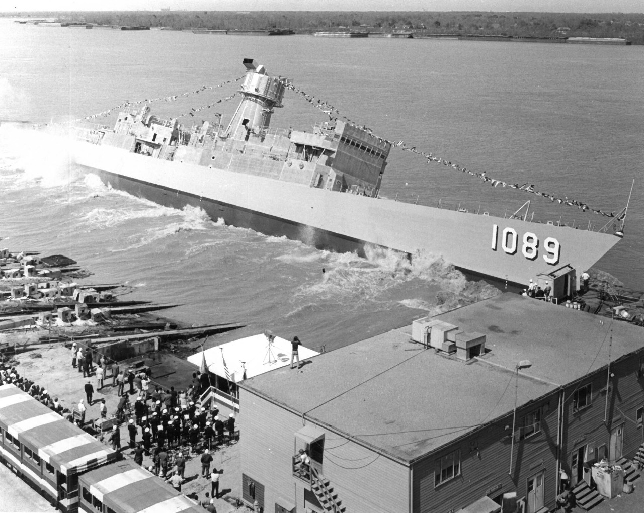 Jesse L. Brown is launched at Avondale Shipyards, 18 March 1972. (Avondale Shipyards, Inc. Photo 72-03-478, Ships History Subject Files Box 883, Jesse L. Brown History, Naval History and Heritage Command)