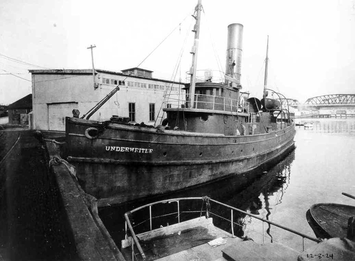 Coast Guard patrol vessels seized the rum-running tug Underwriter four times in 1924, and found liquor on three of those occasions. Each time, however, the tug was released on bond – and resumed her illicit activities soon thereafter!  (U.S. Coast Guard Photograph, U.S. Coast Guard Historian's Office, Prohibition file, Photo No. G-APA-12-08-24)