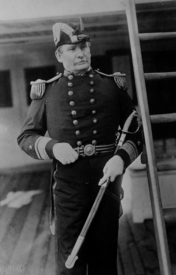 Rear Adm. Jouett on board his flagship, Tennessee, circa 1889. (Naval History and Heritage Command Photograph NH 48676)