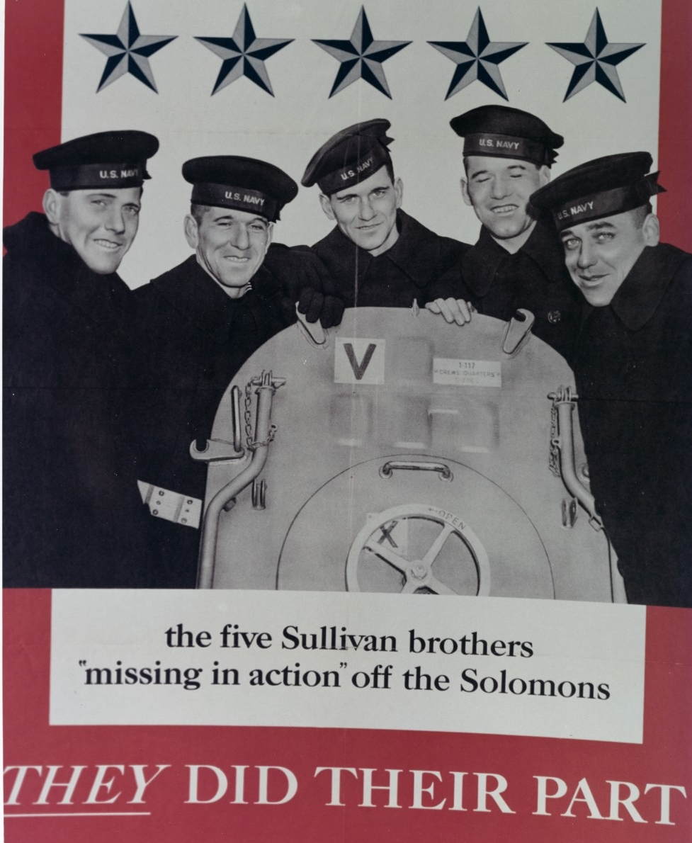 "The five Sullivan brothers 'missing in action' off the Solomons. ""They did their part,"" Office of War Information poster 42, number 1943-0-510254. It shows the Sullivan brothers on board Juneau in early 1942. (Naval History and Heritage Command Photograph NH 67048-KN)"