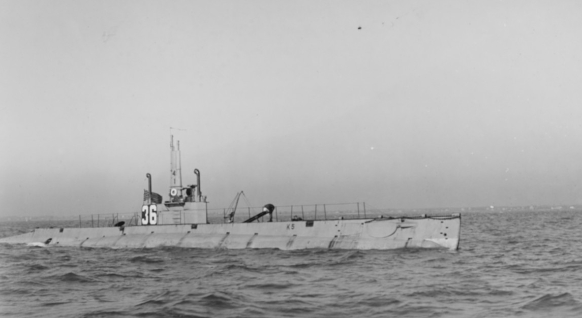 K-5 in Hampton Roads, Va., 13 December 1916. (Naval History and Heritage Command Photograph NH 52377)