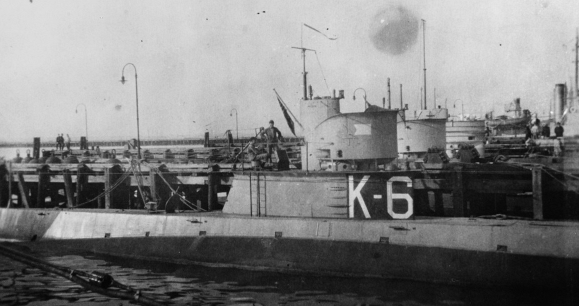 K-6 in port, during the early 1920s. (Courtesy of Donald M. McPherson, 1969, Naval History and Heritage Command Photograph NH 68981)