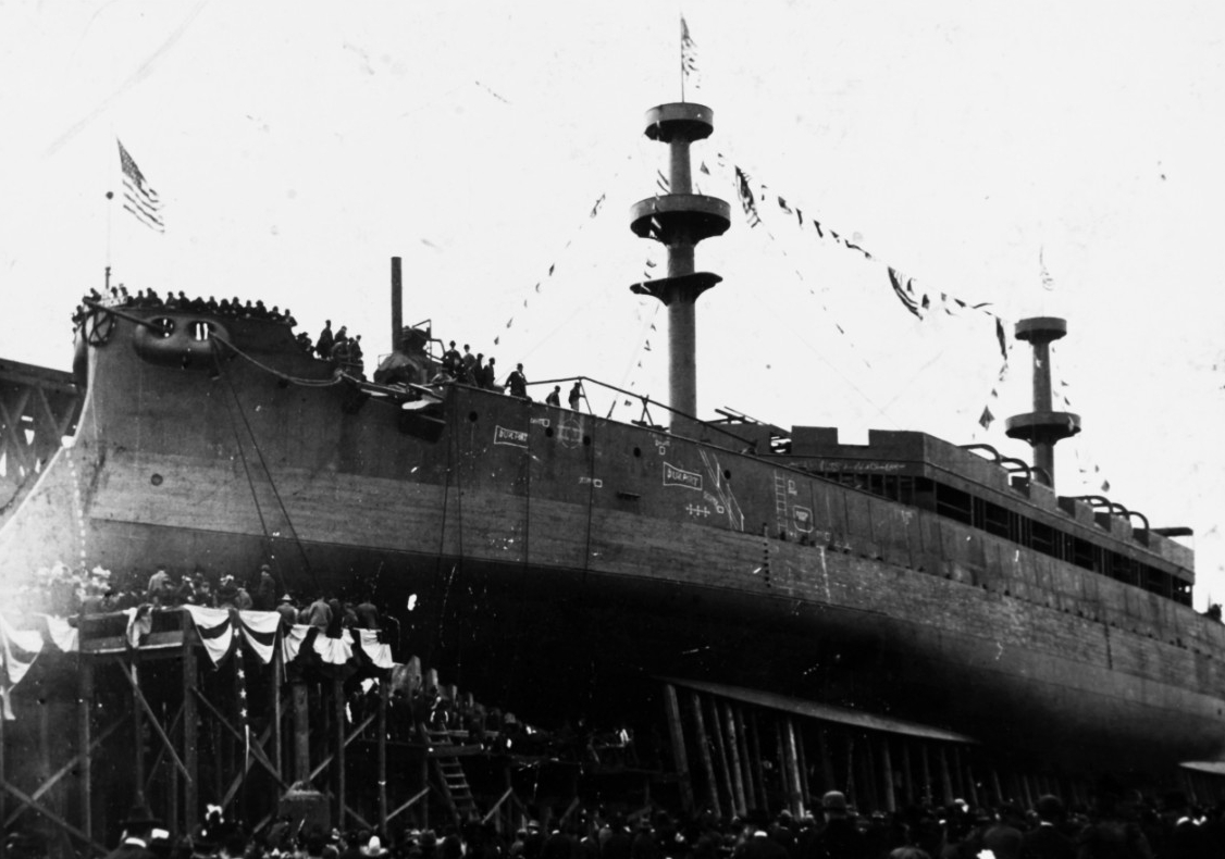 Kentucky launches at Newport News, Va., 24 March 1898. (U.S. Navy Photograph NH 92506, Naval History and Heritage Command)