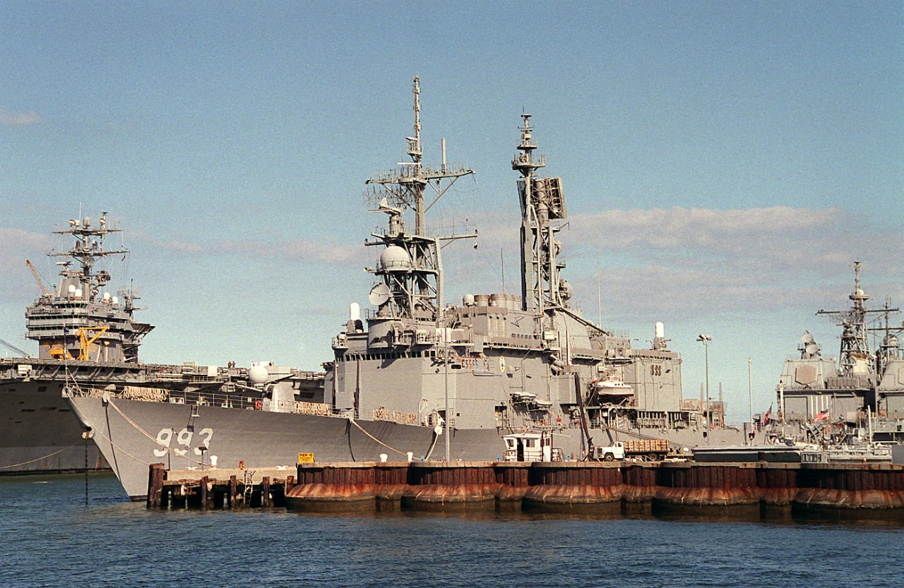 Kidd just prior to her deployment with the Dwight D. Eisenhower Battle Group, 8 October 1994.  (U.S. Navy Photo by Don S. Montgomery, USN [Ret.], DIMOC # DN-SC-95-01411)