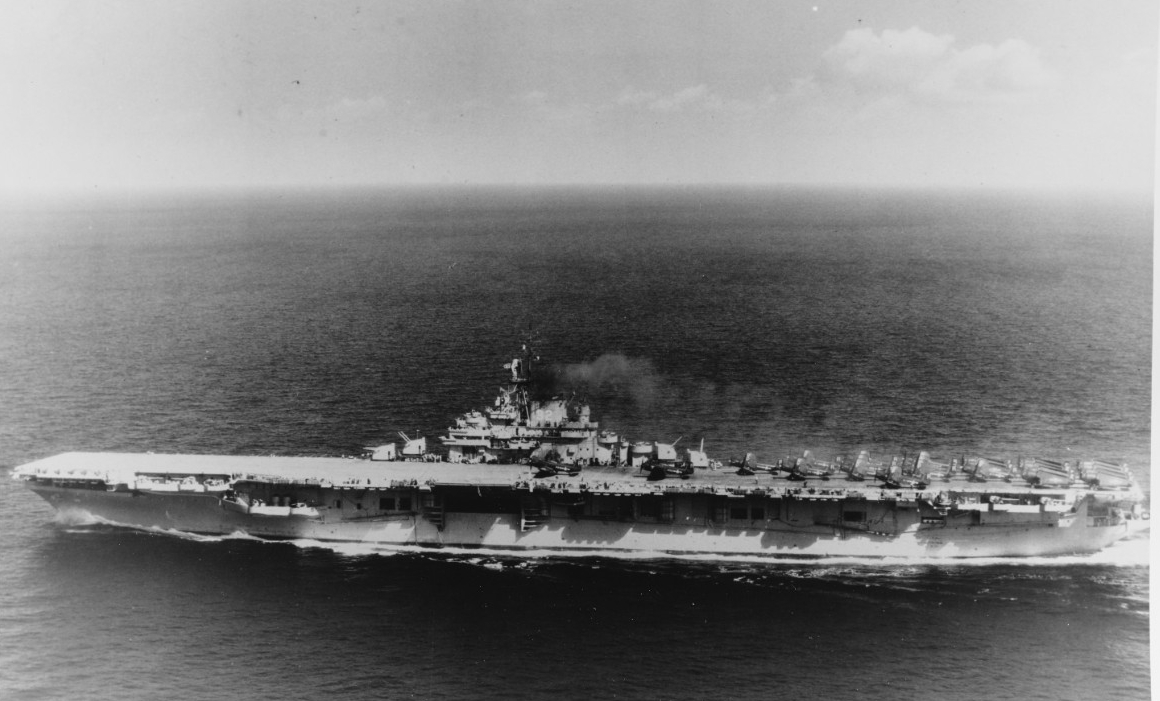 Leyte underway in January 1949, as photographed by AF1 P.C. Ferraro. (U.S. Navy Photograph 80-G-405966, National Archives and Records Administration, Still Pictures Division, College Park, Md.)