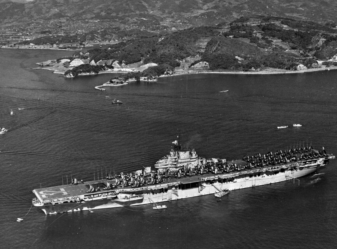 Leyte moored off Naval Operating Base, Yokosuka, during a break from Korean War operations, 1 December 1950. (U.S. Navy Photograph 80-G-424599, National Archives and Records Administration, Still Pictures Division, College Park, Md.)