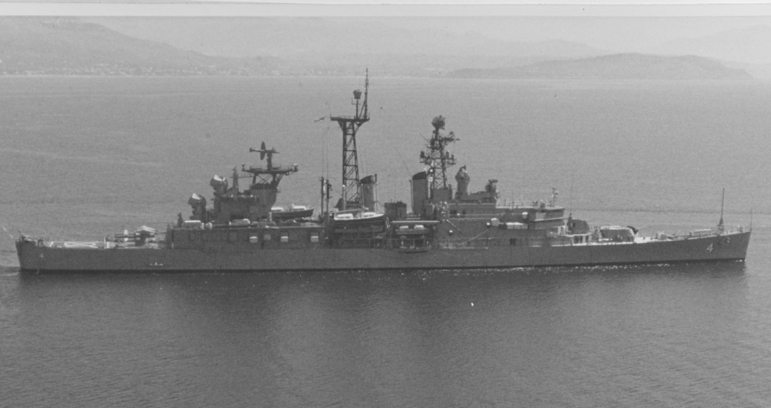 Little Rock in the Mediterranean Sea, circa 1974. Official U.S. Navy Photograph. (Naval History and Heritage Command Photograph NH 83498-KN)