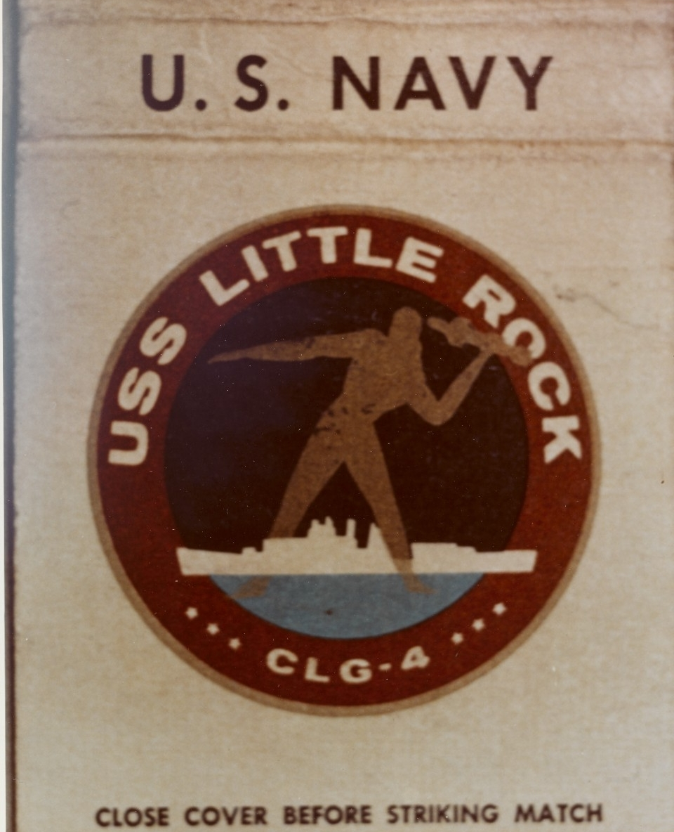 Insignia of Little Rock as (CLG-4) printed on a matchbook cover, probably of early 1960s vintage. Courtesy of Capt. G.F. Swainson, USN, 1969. (Naval History and Heritage Command Photograph NH 88341-KN)