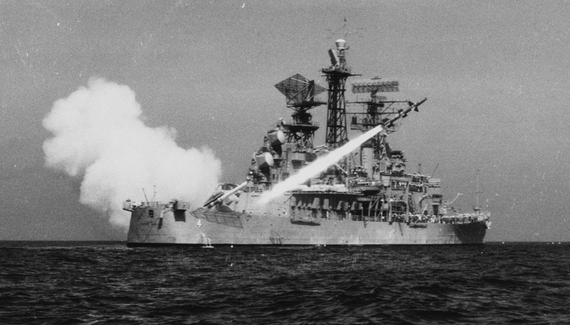Little Rock firing a Talos guided missile during exercises in the Mediterranean, 4 May 1961. (Naval History and Heritage Command Photograph (PM3 D.R. Botts) NH 98953)