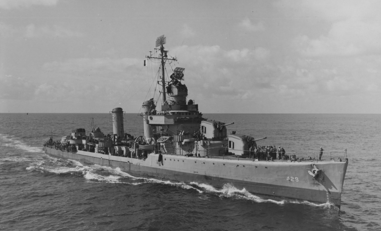 Livermore coming alongside Card (CVE-11), 9 February 1944. (U.S. Navy Photograph 80-G-218107, National Archives and Records Administration, Still Pictures Division, College Park, Md.)