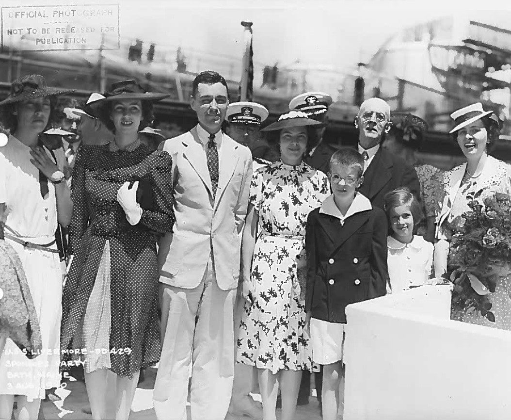 Livermore's launching ceremony on 3 August 1940 at Bath, Maine. Photograph is of Livermore's sponsor Mrs. Everard M. Upjohn and family. Mrs. Upjohn was Samuel Livermore's second great grandniece. (Naval History and Heritage Command Archive, Decommissioned Ship Histories, Prior to 2001, Box 480, U.S.S. Livermore (DD-429) Christening)