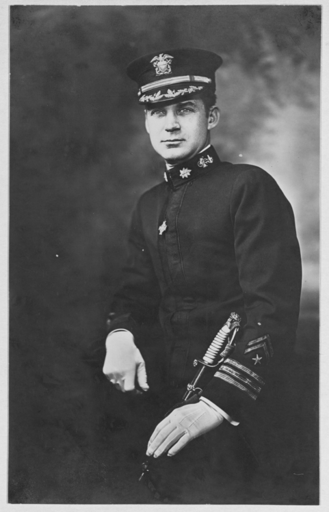 Portrait photograph, taken circa 1919, showing Madison wearing the Medal of Honor (Tiffany Cross) awarded for his heroism in command of Ticonderoga. (Naval History and Heritage Command Photograph NH 48048).