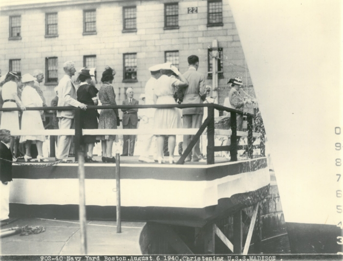 Mrs. Ethel Madison Meyn christens Madison, 6 August 1940. (U.S. Navy Photograph 908-40, Naval History and Heritage Command Archives, Ship Name and Sponsor Files, Box 129).