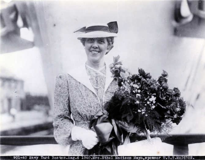 Sponsor of Madison, Mrs. Ethel Madison Meyn, 6 August 1940. (U.S. Navy Photograph 901-40, Naval History and Heritage Command Archives, Decommissioned Ships' Files, Box 494).