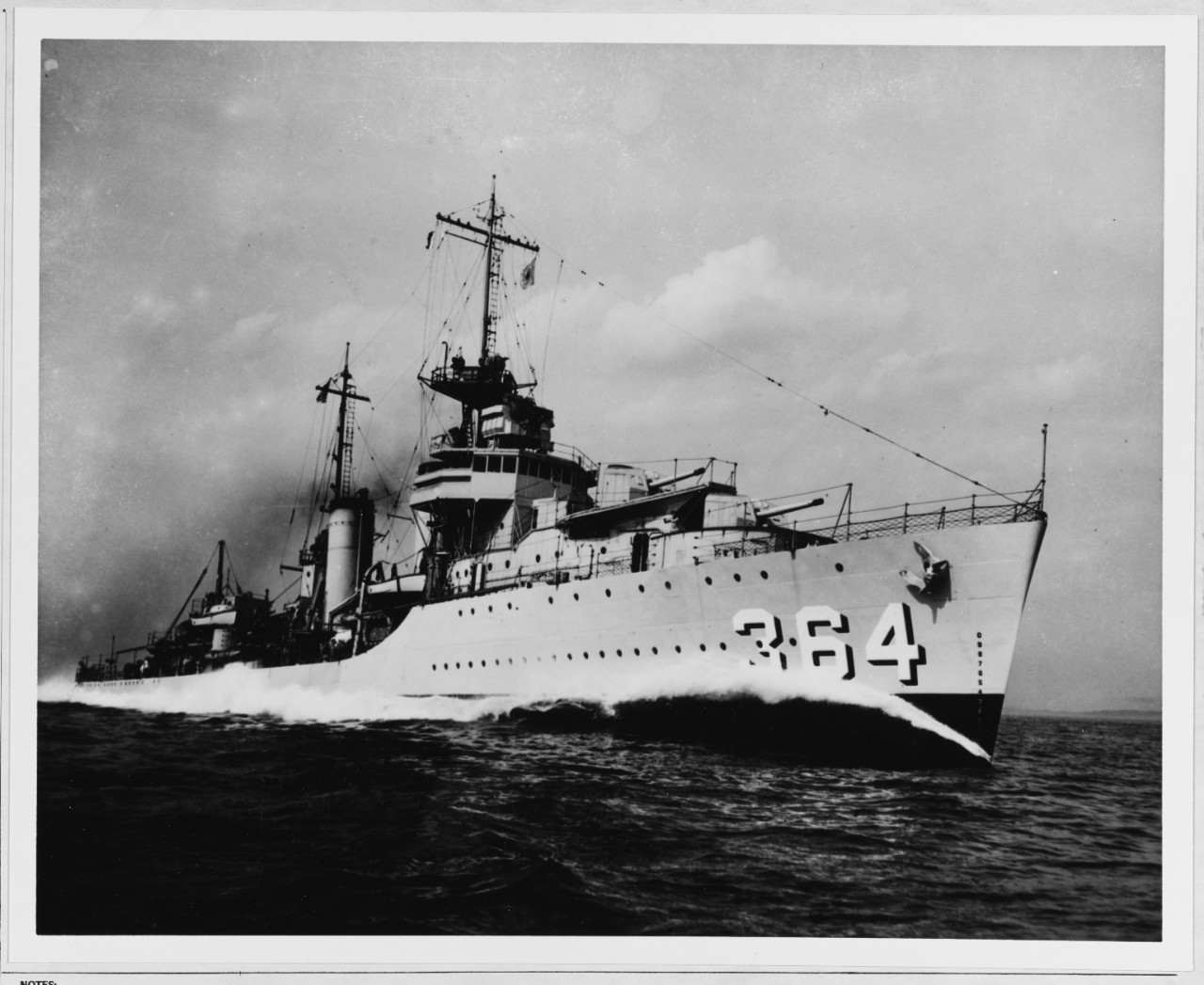 The newly commissioned destroyer conducting trials off the eastern seaboard of the U.S., circa 1936. (Naval History and Heritage Command Photograph NH 60643)