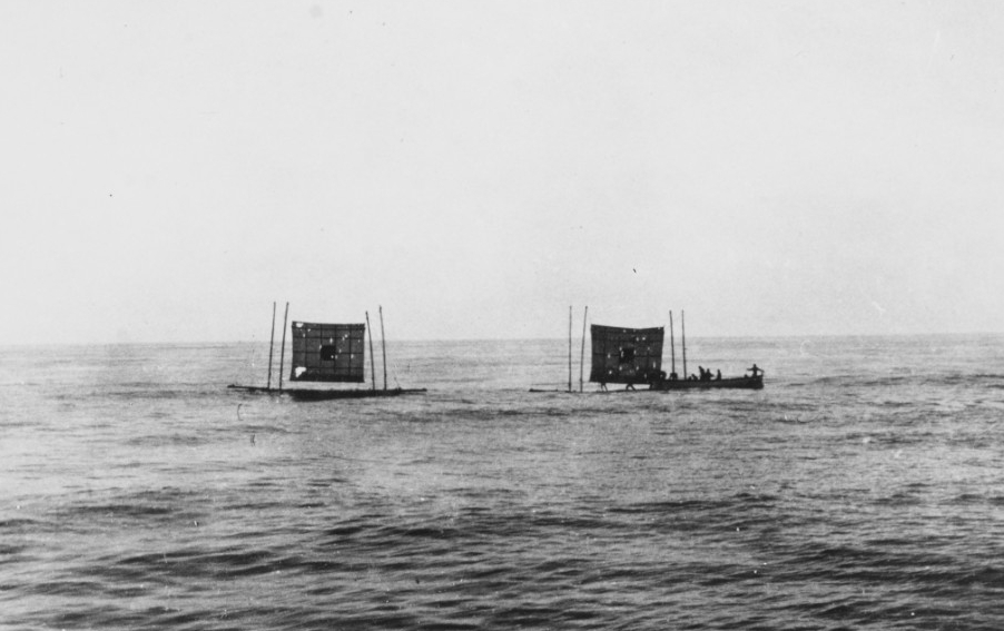 A repair crew from the ship works on target rafts off Pensacola, April 1904. (Naval History and Heritage Command Photograph NH 102417)