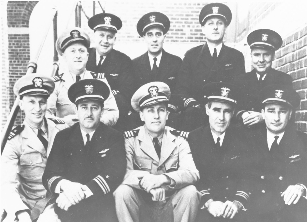Members of the Fourth Command Class at the Submarine Base, New London, Groton, Conn., in February 1942. Those present are, bottom row left to right: Lt. Cmdr. Abele; Lt. Cmdr. Thomas B. Klakring; Cmdr. Karl G. Hensel, Officer in Charge; Lt. Cmdr. George W. Patterson, Jr., Senior Assistant; and Lt. Cmdr. Jesse L. Hull. Top row, left to right: Lt. Cmdr. Howard W. Gilmore; Lt. Cmdr. Philip H. Ross; Lt. Cmdr. Arthur H. Taylor; Lt. Cmdr. Albert C. Burrows; and Lt. Cmdr. Leonard S. Mewhinney. (U.S. Navy Photograph 80-G-88577, National Archives and Records Administration, Still Pictures Division, College Park, Md.)