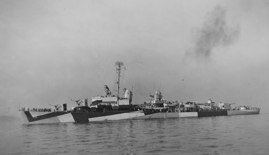 Mannert L. Abele off Boston, 1 August 1944. (Naval History and Heritage Command Photograph NH 46646)