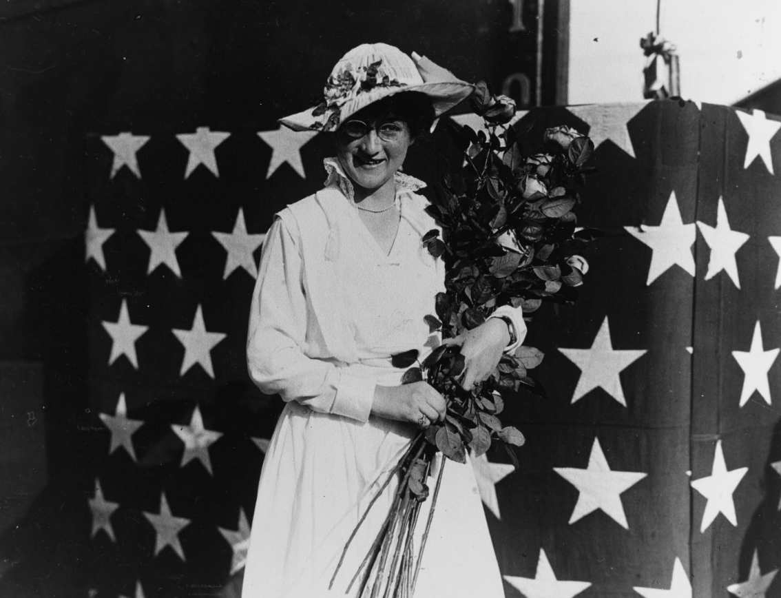 Maumee's sponsor, Miss Janet Crose, during the ceremonies accompanying the ship's launching  at the Mare Island Navy Yard, Vallejo, Calif., 17 April 1915. (Naval History and Heritage Command Photograph NH 70516)