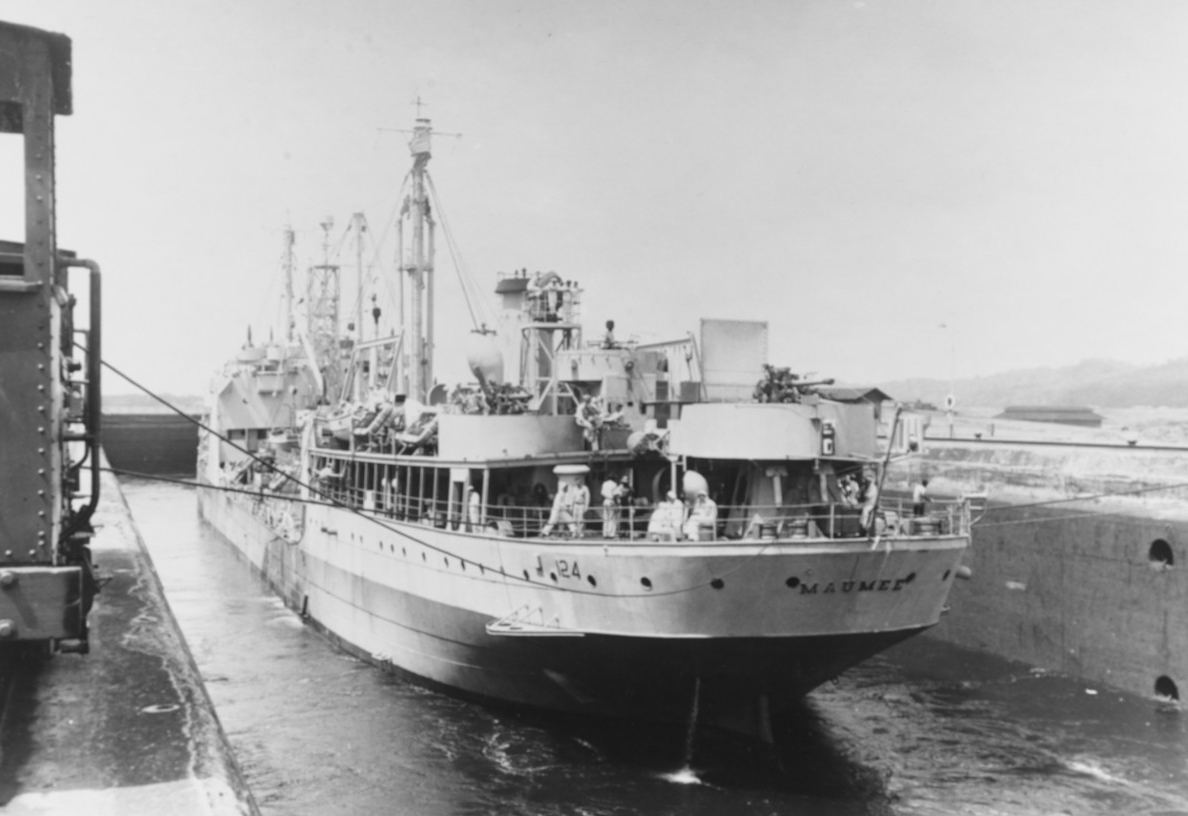 Maumee transits the Gatun Locks while passing through the Panama Canal with the Chinese ships, 21 April 1946. (U.S. Navy Photograph 80-G-363483, National Archives and Records Administration, Still Pictures Branch, College Park, Md.)