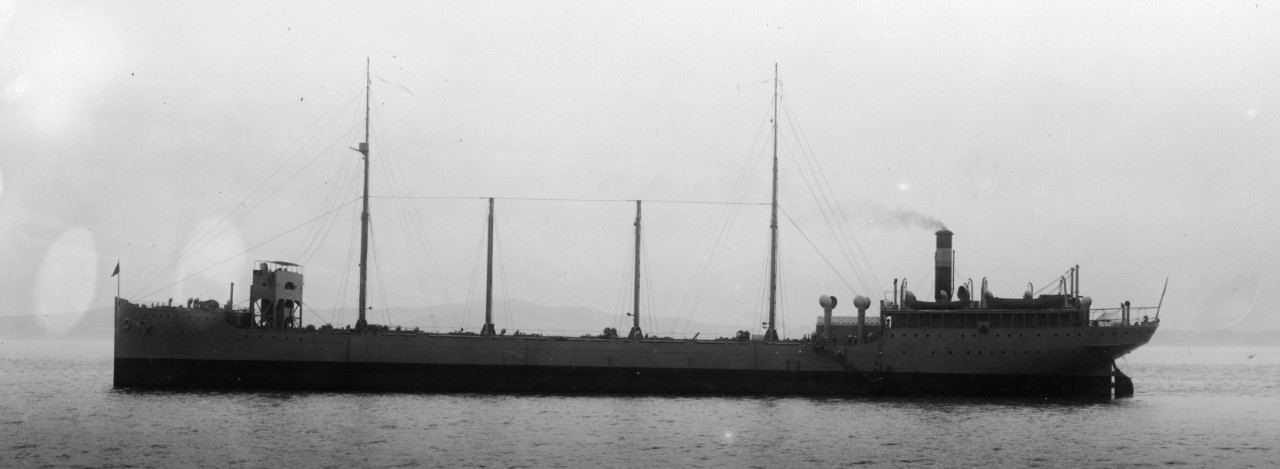 Maumee poses for an early portrait, lying-to in the stream off Mare Island, 25 February 1916. The simplicity of her original configuration contrasts markedly with the major modifications that would be carried out later in her career. (U.S. Navy Bureau of Ships Photograph, 19-MC-12-17, National Archives and Records Administration, Still Pictures Branch, College Park, Md.)