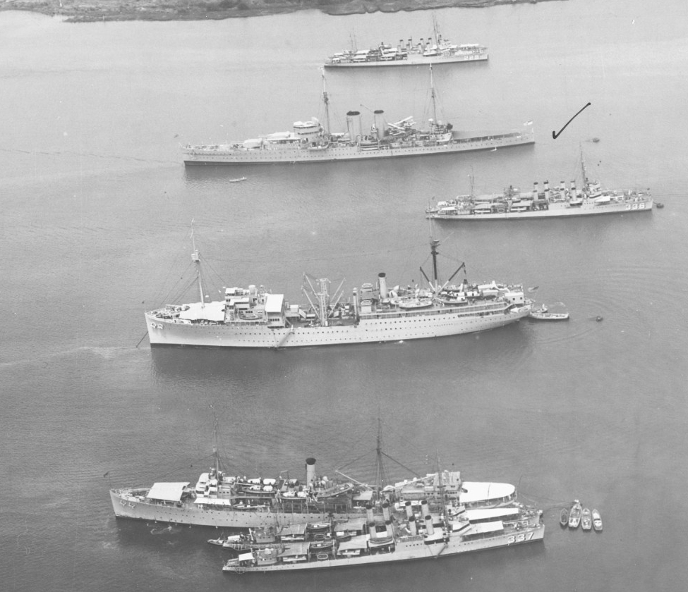 A view of ships anchored in Balboa Harbor at the Panama Canal Zone, 24 April 1934. The (bottom– top) ships include Zane (DD-337) and another destroyer alongside Melville, repair ship Medusa (AR-1), Litchfield (DD-336), British heavy cruiser Exeter (68) -- note the check mark -- and another destroyer nested with Truxtun (DD-229). (Naval History and Heritage Command Photograph NH 60813)