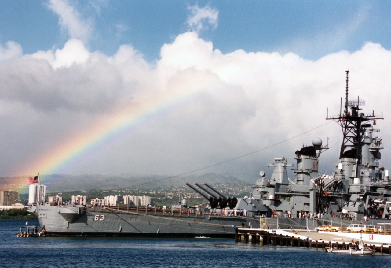 USS Missouri (BB-63) tied up at Naval Station Pearl Harbor, Hawaii.