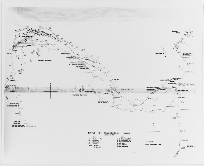 A track chart displays some of the movements of the American and Japanese ships during the Battle of the Komandorski Islands, 27 March 1943. The U.S. ships are tracked (for the most part) accurately, but the enemy ship movements are simply estimates as observed by the Americans during the fighting. (U.S. Navy Photograph 80-G-299017, National Archives and Records Administration, Still Pictures Branch, College Park, Md.)