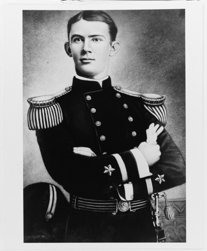Ens. John R. Monaghan radiates confidence in this undated photograph. (Naval History and Heritage Command Photograph NH 47734)