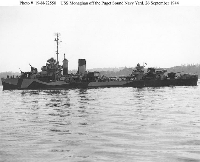 Monaghan lies-to off Puget Sound Navy Yard, Bremerton, Wash., 26 September 1944. The ship wears Measure 31, Design 7d camouflage. (U.S. Navy Bureau of Ships Photograph 19-N-72550, National Archives and Records Administration, Still Pictures Branch, College Park, Md.)