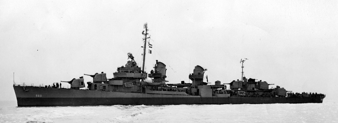 Port broadside view of Morrison, 5 February 1945. (U.S. Navy Bureau of Ships Photograph BS 80527, National Archives and Records Administration, Still Pictures Division, College Park, Md.)
