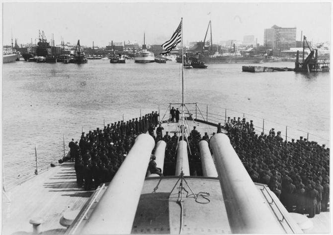 Commissioning ceremony for Nevada at the Boston Navy Yard, 11 March 1916. (Naval History and Heritage Command Photograph NH 45458)