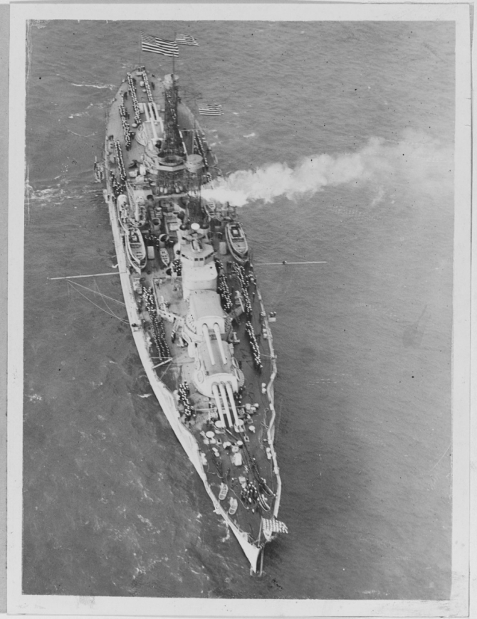 Nevada convoying President Woodrow Wilson off Brest, France, in December 1918. (Naval History and Heritage Command Photograph NH 48142)