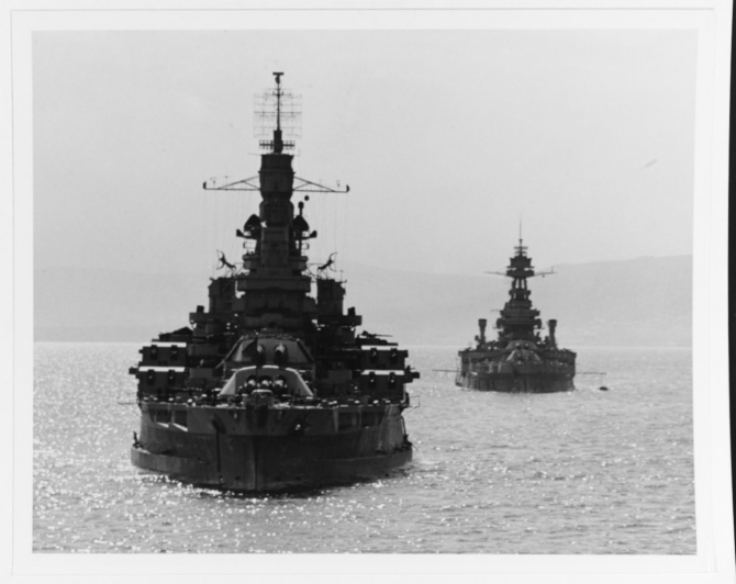 Photographed from Quincy (CA-71), Nevada in Belfast Lough, Northern Ireland, 14 May 1944. Texas (BB-35) is at right. (U.S. Navy Photograph 80-G-367897 National Archives and Records Administration, Still Pictures Division, College Park, Md.)