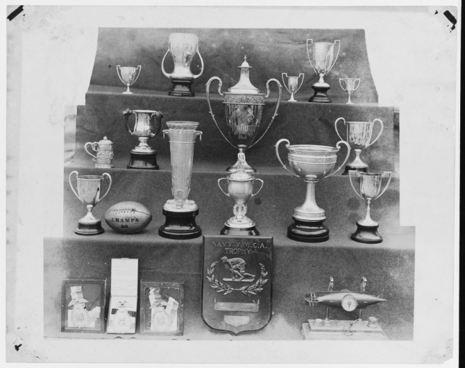 Nevada's athletic trophies won by the ship's crew photographed circa 1921. Collection of Delmar Ketch. (Naval History and Heritage Command Photograph NH 93412)