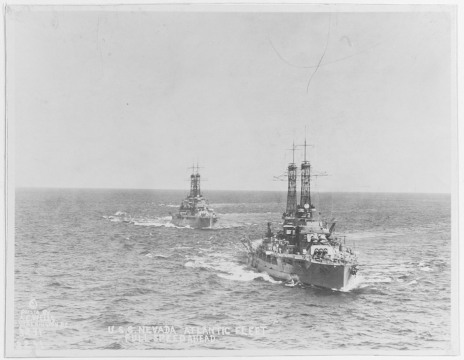 Nevada steaming in company with Oklahoma (BB-37) in the Atlantic, circa the early-mid 1920s. Photo by A.E. Wells, Washington, D.C. (Naval History and Heritage Command Photograph NH 45456)