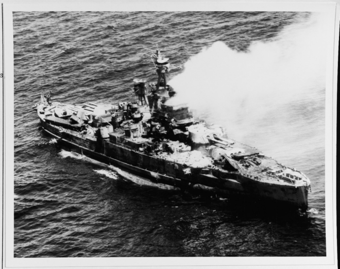 Nevada being sunk in ordnance tests off Pearl Harbor on 31 July 1948. (U.S. Navy Photograph 80-G-498257 National Archives and Records Administration, Still Pictures Division, College Park, Md.)