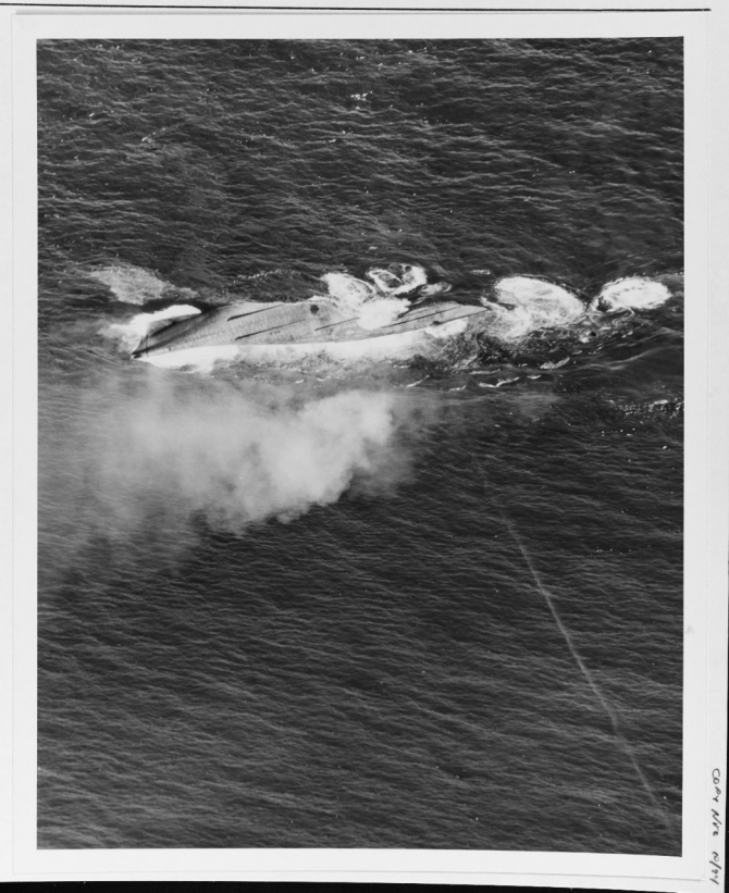 Nevada is sunk as a target off Hawaii on 31 July 1948. (U.S. Navy Photograph 80-G-498282 National Archives and Records Administration, Still Pictures Division, College Park, Md.)