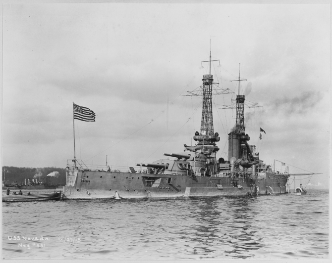 Nevada off New York City, 27 December 1918. (Naval History and Heritage Command Photograph NH 60666)