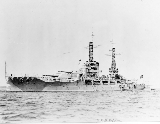 Nevada photographed circa 1917, painted with rangefinder-confusing camouflage. (Naval History and Heritage Command Photograph NH 45439)