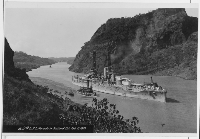 Nevada transiting the Panama Canal, 15 February 1923. (Naval History and Heritage Command Photograph NH 73829)