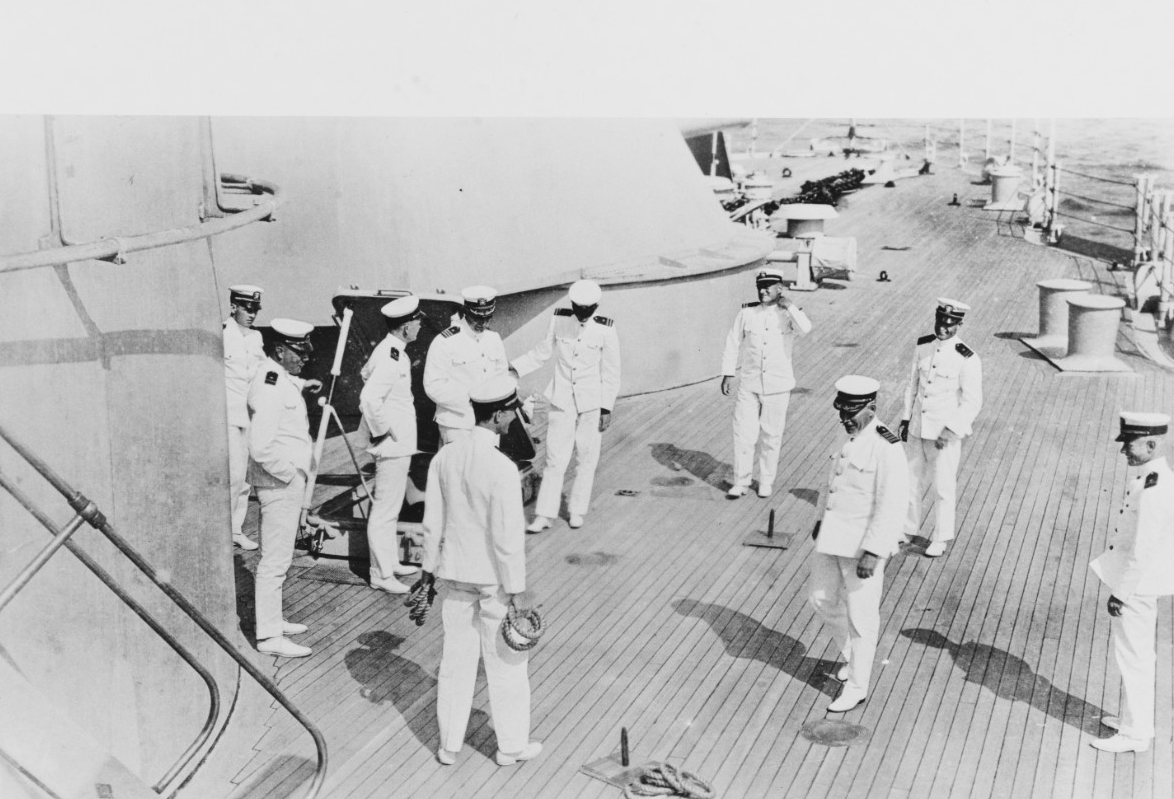 Capt. William V. Pratt (third from right) playing a game of ring toss on board New York with other ship's officers, circa 1919-1920. (Courtesy of the Naval Historical Foundation, Admiral William V. Pratt Collection, Naval History and Heritage Command Photograph NH 75765)