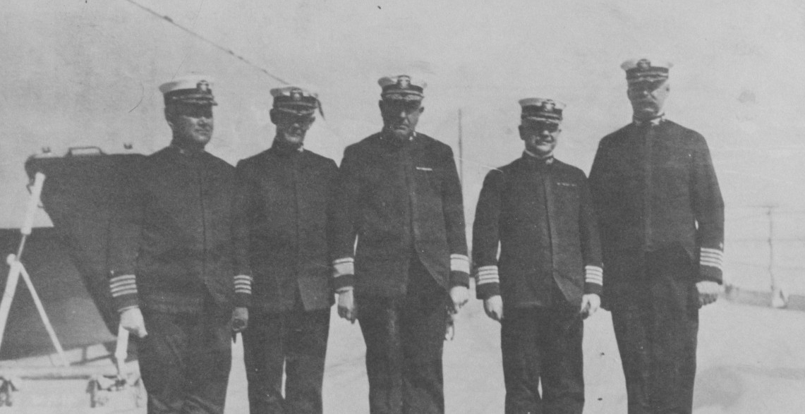 Commanding officers of the battleships of the Sixth Battle Squadron: (left to right) Capt. Archibald H. Scales, Delaware; Capt. Henry A. Wiley, Wyoming; Rear Adm. Hugh Rodman; Capt. Thomas Washington, Florida, and Capt. Charles F. Hughes, New York. Note: Texas (Battleship No. 35), Capt. Victor Blue, joined later in the year. (Naval History and Heritage Command Photograph NH 119788)