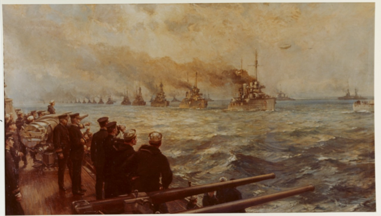 """Surrender of German High Seas Fleet on 21 November 1918""-- oil on canvas by Bernard F. Gribble, 1920. Vice Adm. William S. Sims, and Rear Adm. Rodman on board New York. (Naval History and Heritage Command Photograph NH 58842-KN)"